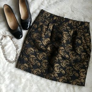 LOFT Gold and Black Floral Mini Skirt